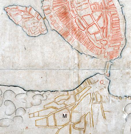 Del av en Stockholmskarta från 1625. Maria Magdalena kyrka vid bokstaven M.