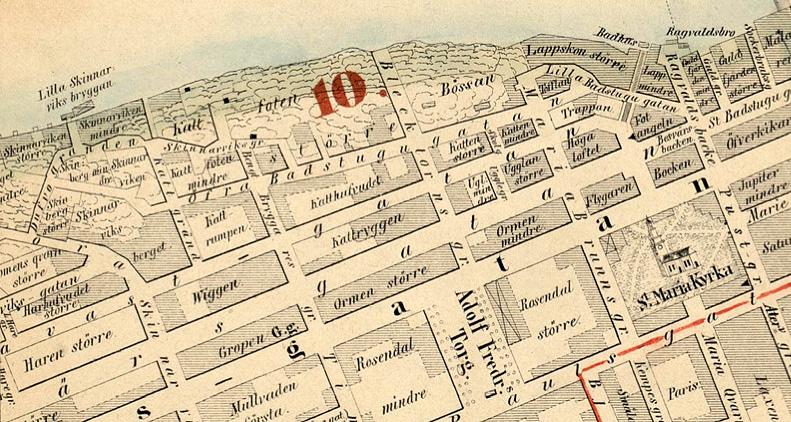 Del av en Stockholmskarta från 1855.