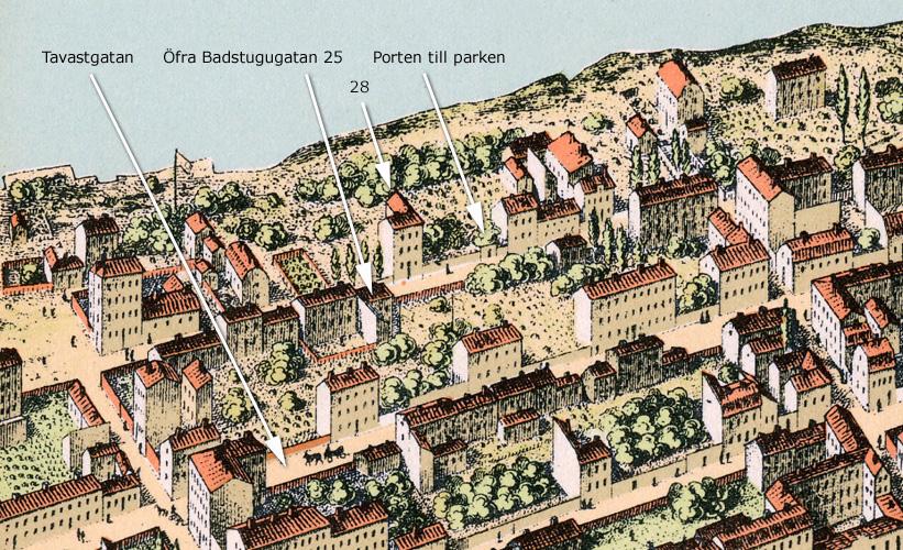 Kvarteret Katthufudet, mellan 1870-75. Kartan trycktes 1875 och kallas Neuhaus stockholmspanorama.