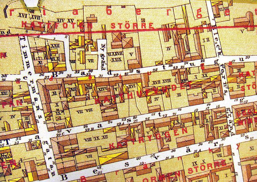Kvarteret Katthufvudet. Del av karta upprättad 1885 av A. R. Lundgren.