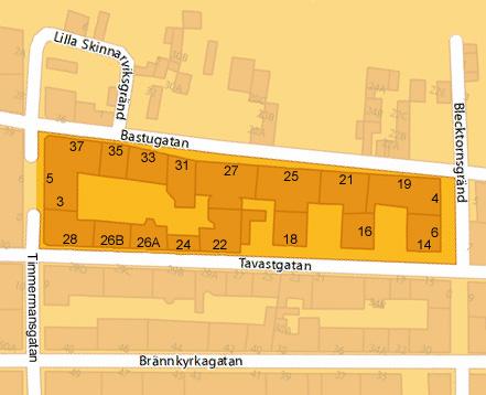 Husnummer i kvarteret Katthuvudet, 2012.