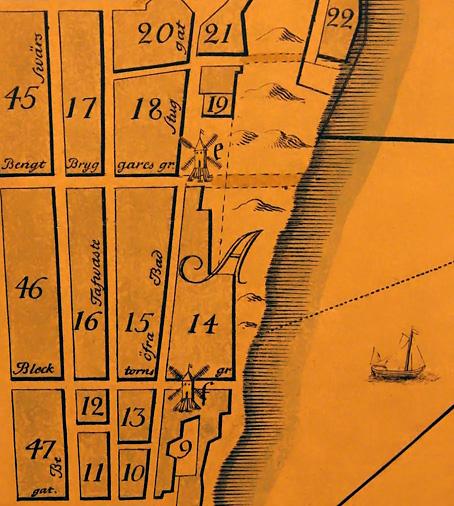 """Del av stadsingenjör Petrus Tillæus Stockholmskarta, färdigritad 1731 och utgiven 1733. """"e"""" = väderkvarnen Lilla Pryssan, och """"f"""" = Stora Pryssan. 15 = kvarteret Katthuvudet. (Timmermansgatan norr om Hornsgatan hade vid den här tiden namnet Bengt Bryggares gränd, och Brännkyrkagatan hette Besvärsgatan.)"""