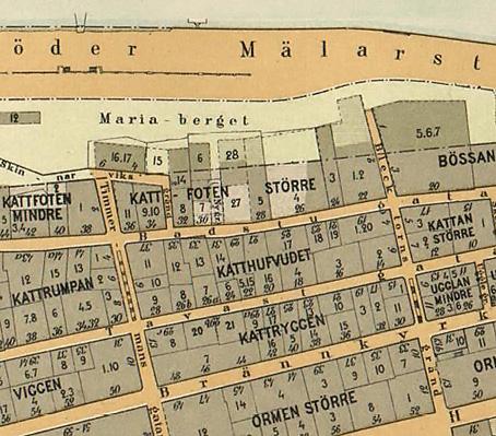 Del av Alfred Bentzers Stockholmskarta från 1899.