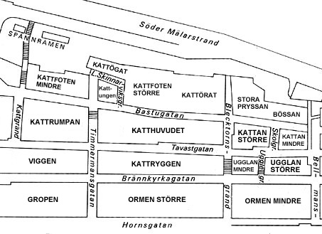 Kvartersnamn i modern tid. Kattfoten mindre hade en gång i tiden namnet Paletten. Kattungen, Kattögat och Kattörat ingick förr i Kattfoten större. Kvarterat Bössan omfattade i äldre tid även det som idag heter Stora Pryssan.