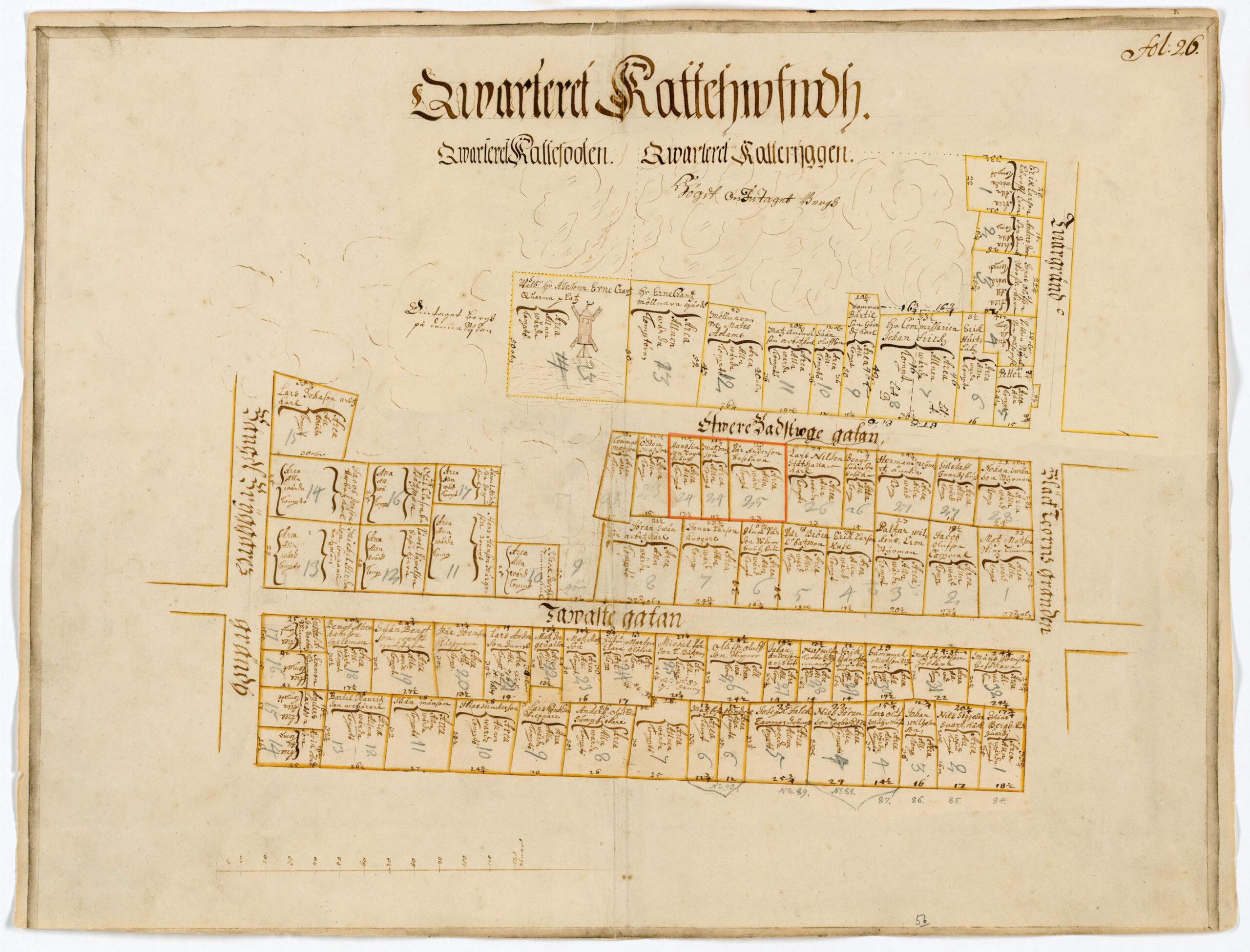 Kvarteret Katthuvudet ur Holms tomtbok från 1679.